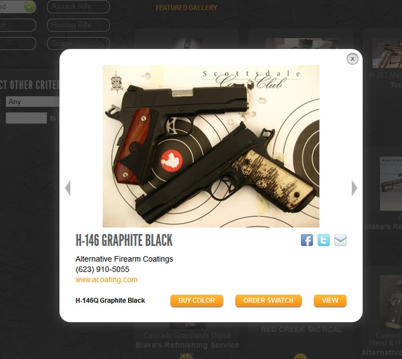 View the world's largest online firearm and gun coating gallery.