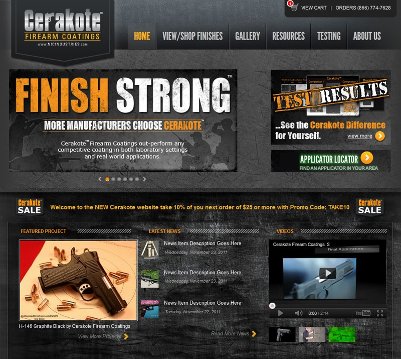 Cerakote™ Firearm Coatings launches new website with enhanced shopping, gallery, applicator locator, video and sample request features.