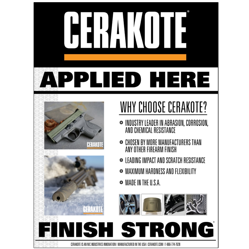 High resolution product image of Cerakote Applied Here Vinyl Poster