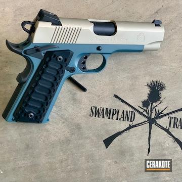 1911 Pistol Cerakoted Using Bright Nickel, Graphite Black And Blue Titanium