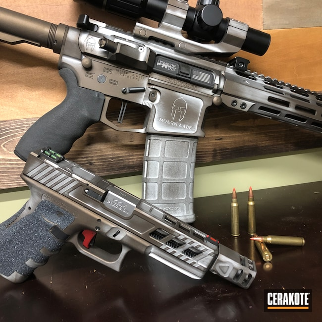 Cerakoted: S.H.O.T,Battleworn,Distressed,Satin Aluminum H-151,Pistol,Glock,Tactical Rifle,Midnight Bronze H-294,AR-15