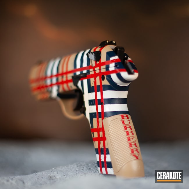 Cerakoted: Bright White H-140,S.H.O.T,9mm,Beretta PX4,Burberry,USMC Red H-167,KEL-TEC® NAVY BLUE H-127,Full Cerkote Job,FS Sabre Sand H-33446
