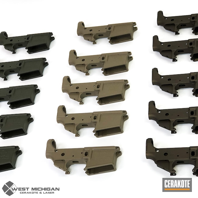 Cerakoted: S.H.O.T,AR Lower Receiver,Lower,Bulk,Firearm,Burnt Bronze H-148,O.D. Green H-236,AR-15 Lower,Firearms,Flat Dark Earth H-265,Production,Production Run