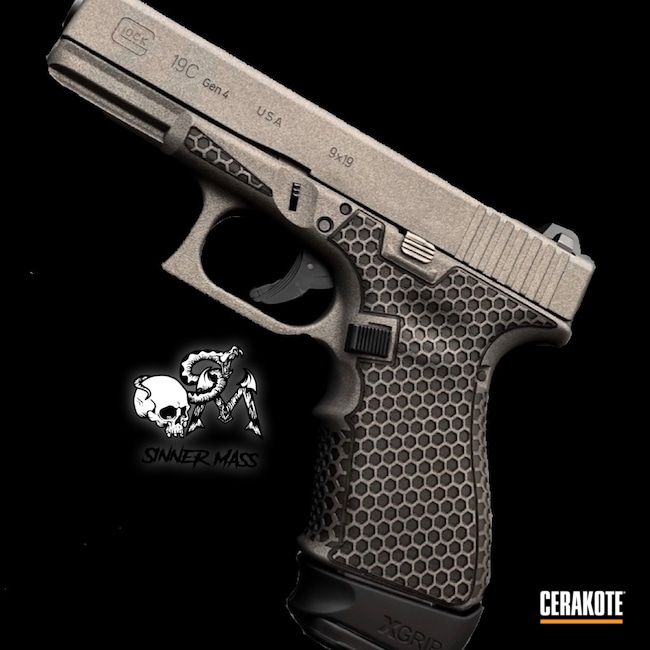 Cerakoted: Laser Stippled,Glock 19C,Laser Stippling,Tungsten H-237,Stippled,Pistol,sanantonio,Laser Engrave,Handgun,SHOT,Glock 19,9mm,Glock