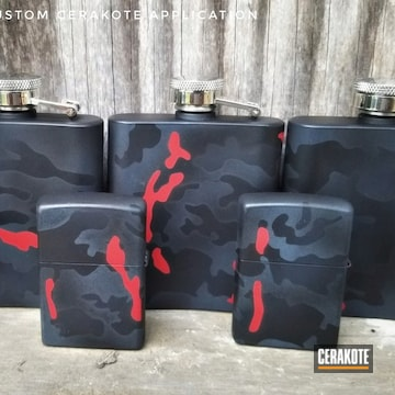 Cerakoted Matching Zippo And Flask In H-309, E-100, H-167 And H-345