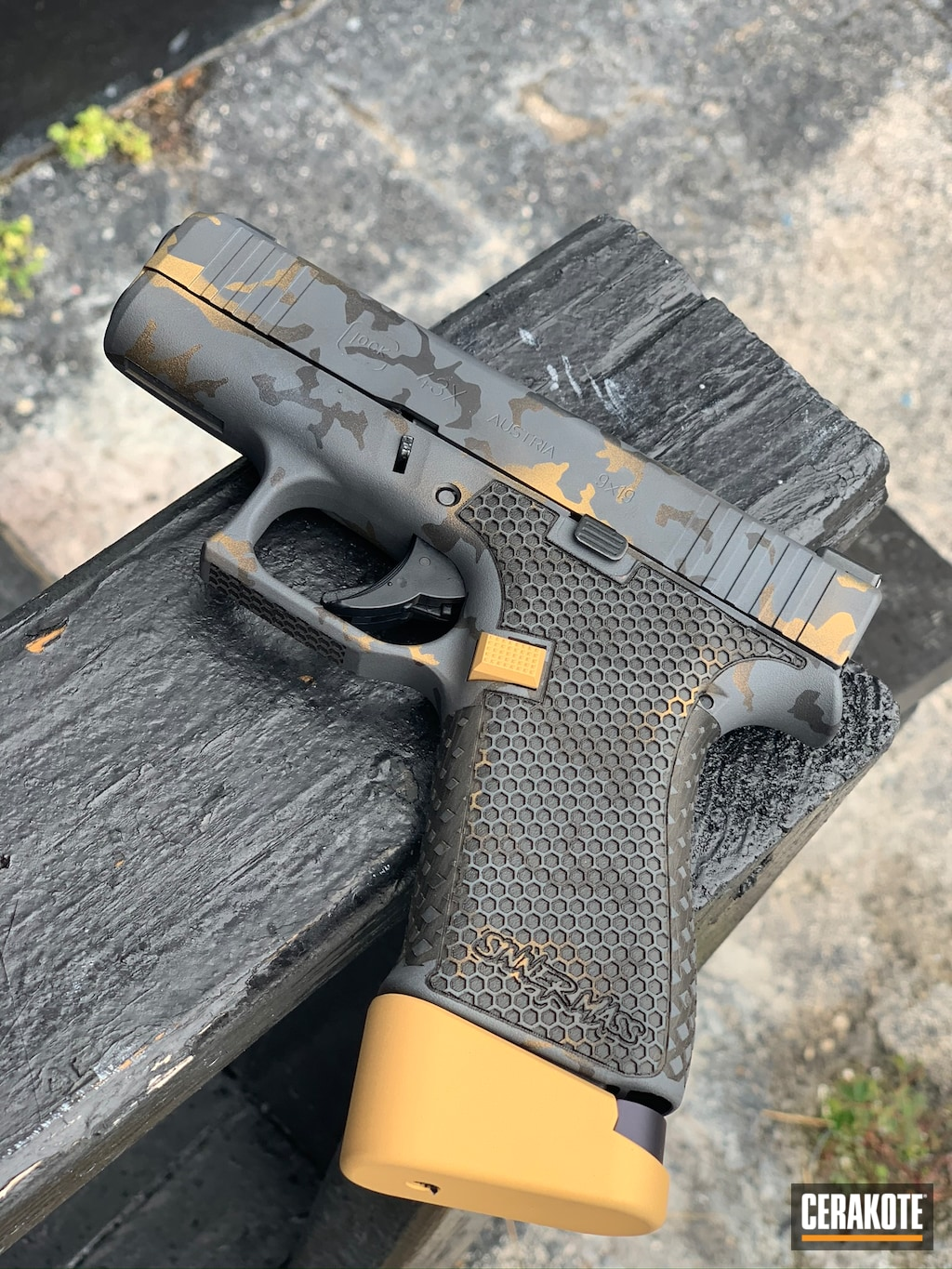 Stippled Glock 43X done in Sniper Grey, Graphite Black and ...