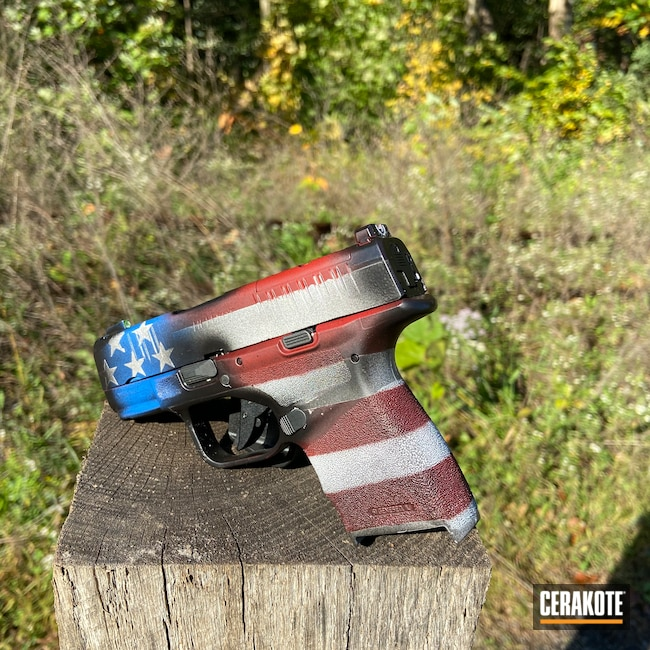 Cerakoted: S.H.O.T,9mm,US Flag,NRA Blue H-171,Distressed,Stormtrooper White H-297,Crimson H-221,Armor Black H-190,American Flag,Springfield Armory,Hellcat