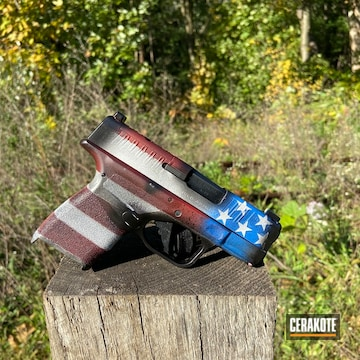 Distressed United States Flag Springfield Armory Hellcat Cerakoted Using Crimson, Armor Black And Stormtrooper White