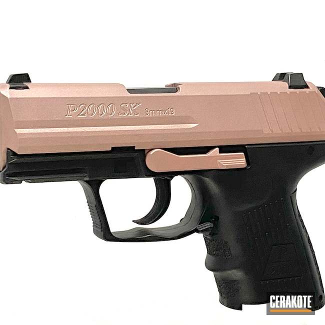 Cerakoted: S.H.O.T,9mm,Guns And Roses,Guns,ROSE GOLD H-327,HK,Guns for Girls,Before and After,P2000