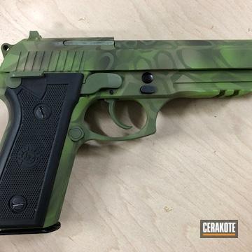 Kryptek Camo Taurus Pistol Cerakoted Using Desert Sand, Zombie Green And Multicam® Dark Green