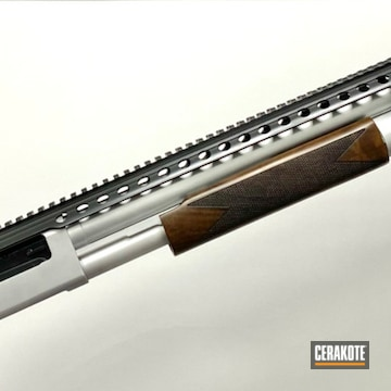 Mossberg Shotgun Cerakoted Using Satin Aluminum, Smoke And Blackout