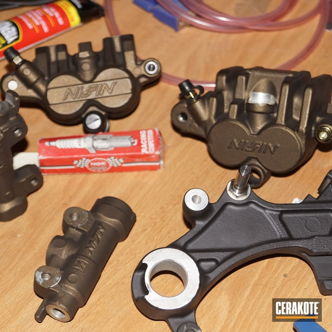 Cerakoted: Graphite Black H-146,Burnt Bronze H-148,Automotive,Dirt Bike,18:1,Motorcycle