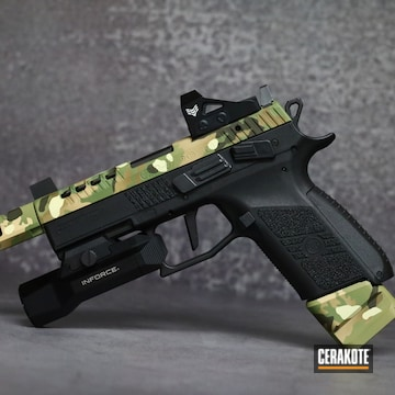 Multicam Cz Slide And Mag Extensions Cerakoted Using Desert Sand, Multicam® Pale Green And Magpul® O.d. Green