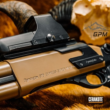 Remington 870 Cerakoted Using Midnight And M17 Coyote Tan