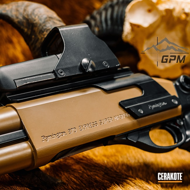 Cerakoted: S.H.O.T,M17 COYOTE TAN E-170,12 Gauge,870,Remington,Firearms,Pump-action Shotgun,EOTech,Midnight E-110,Tactical Shotgun,Shotguns,Remington 870,Guns