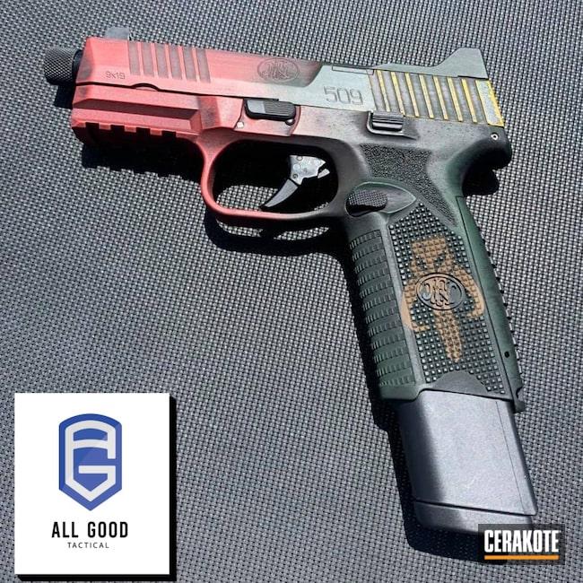 Cerakoted: S.H.O.T,Corvette Yellow H-144,Distressed,Pistol,FN,Handgun,9mm,Highland Green H-200,509 Tac,Graphite Black H-146,HABANERO RED H-318,509 Tactical,FN 509,Star Wars