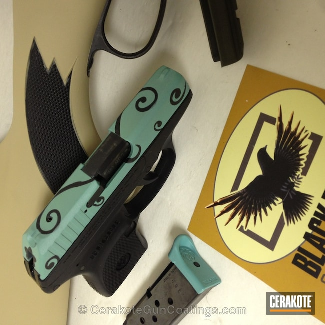 Thumbnail version of the 2nd project picture. Ruger, Ladies, Armor Black H-190Q, Robin's Egg Blue H-175Q