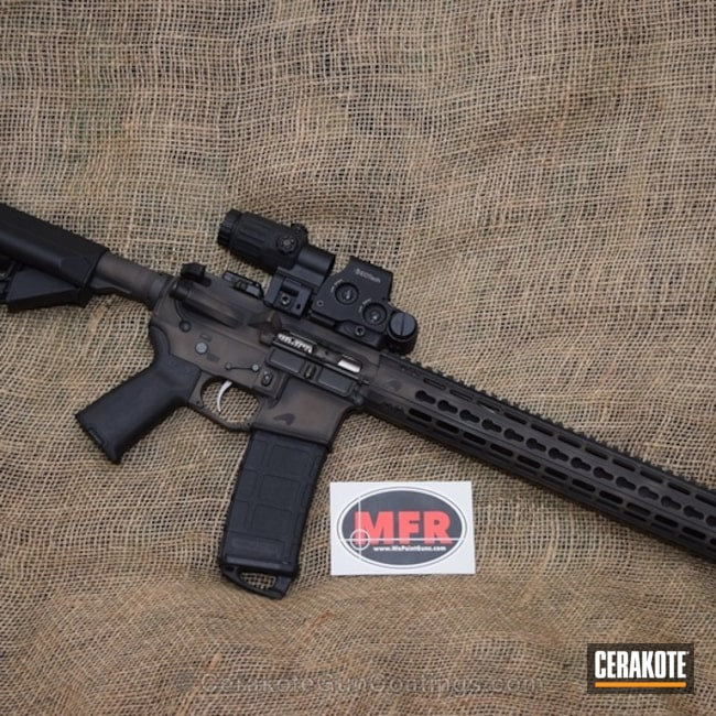 Cerakoted: Distressed,Armor Black H-190,Tactical Rifle,Chocolate Brown H-258