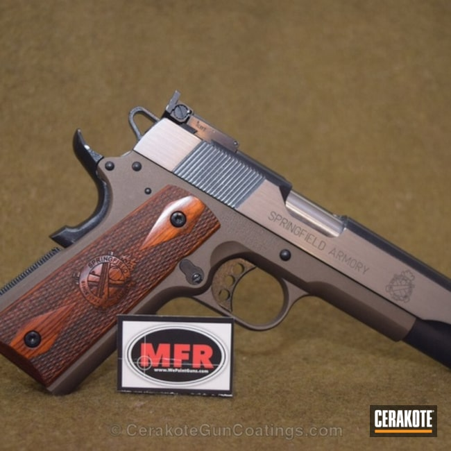 Smaller version of the 5th project picture. Springfield, 1911, Custom Mix, MC-156FQ, High Gloss Ceramic Clear, Clear Coat, Chocolate Bronze, Sides Parallel Ground, Custom Mix Blue, Burnt Bronze H-148Q, Midnight Blue H-238