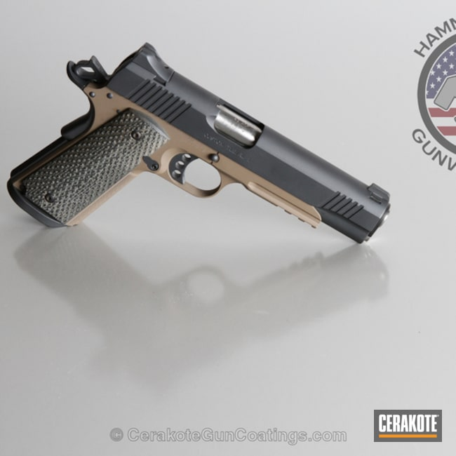 Smaller version of the 2nd project picture. Sniper Grey, Kimber, 1911, MagPul Flat Dark Earth H-267Q, Sniper Grey H-234Q