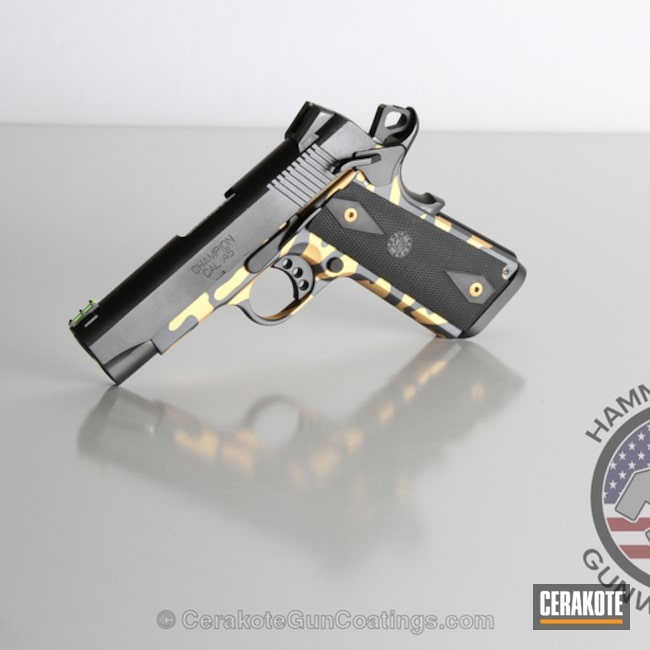 Cerakoted: Sniper Grey H-234,Springfield Armory,1911,Sniper Grey,Gold H-122