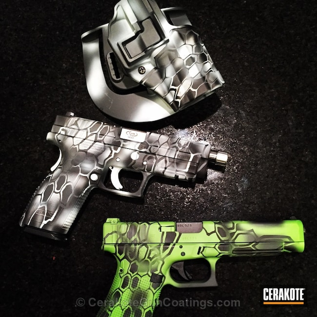 Smaller version of the 1st project picture. Graphite Black H-146Q, Glock, Handgun, Bright White H-140Q, Zombie Green H-168Q