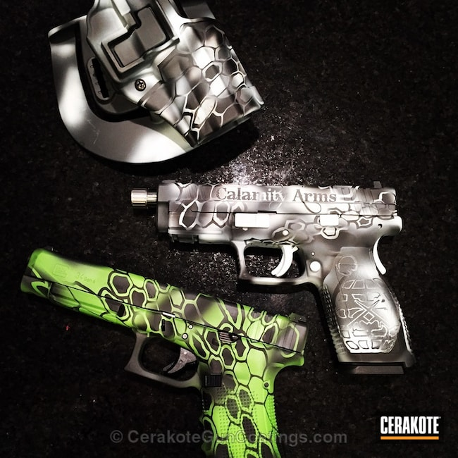 Mobile-friendly version of the 3rd project picture. Graphite Black H-146Q, Glock, Handgun, Bright White H-140Q, Zombie Green H-168Q