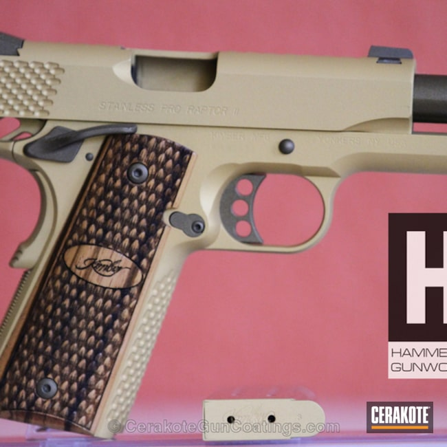 Mobile-friendly version of the 1st project picture. Kimber, 1911, Burnt Bronze H-148Q, Gold H-122Q