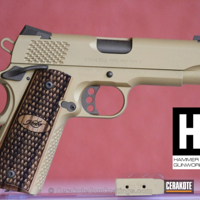 Smaller version of the 2nd project picture. Kimber, 1911, Burnt Bronze H-148Q, Gold H-122Q
