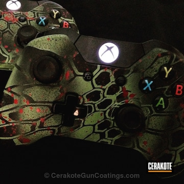 Cerakoted H-168 Zombie Green With H-146 Graphite Black And H-221 Crimson