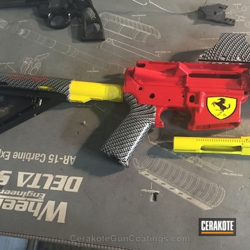 Cerakoted H-167 Usmc Red With H-144 Corvette Yellow And Mc-160 High Gloss Ceramic Clear