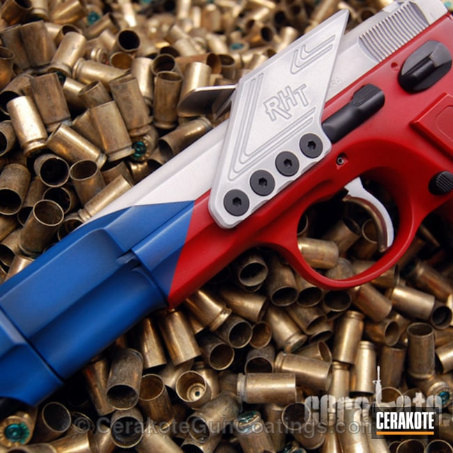 "Thumbnail image for project ""H-220 Ridgeway Blue with H-140 Bright White and H-216 Smith & Wesson Red"""