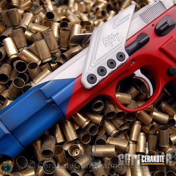Cerakoted H-220 Ridgeway Blue With H-140 Bright White And H-216 Smith & Wesson Red