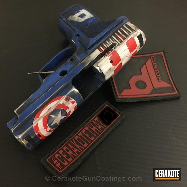 Cerakoted: Bright White H-140,NRA Blue H-171,USMC Red H-167,Sig Sauer,Handguns