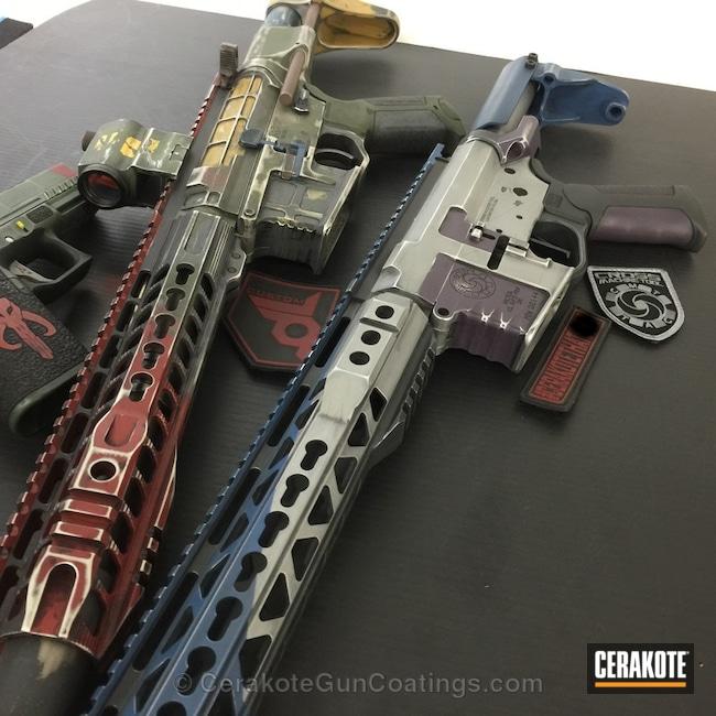Cerakoted: Graphite Black H-146,Wild Purple H-197,Titanium H-170,Tactical Rifle,Mandolorian Gun