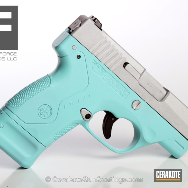 Smaller version of the 2nd project picture. Beretta, Handgun, Ladies, Satin Aluminum H-151Q, Robin's Egg Blue H-175Q