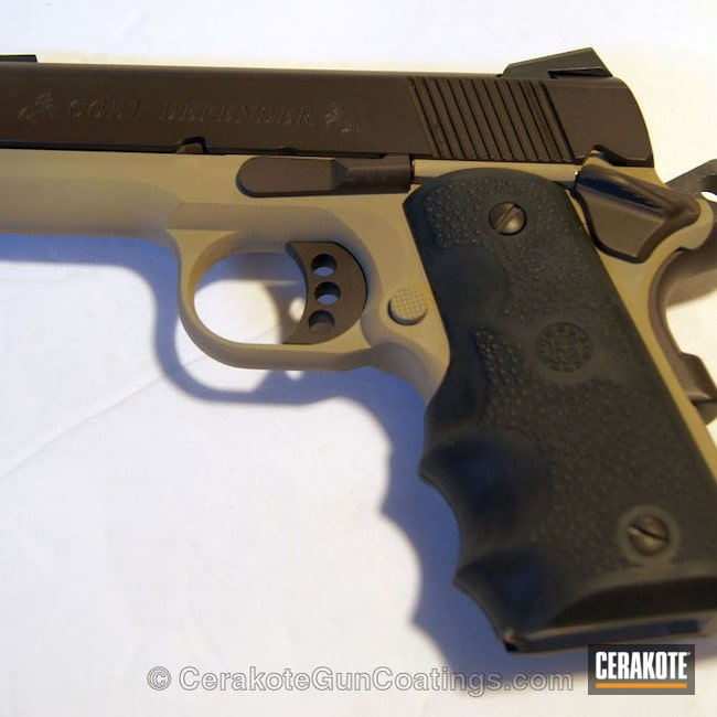 Big version of the 2nd project picture. Colt, 1911, Desert Sand H-199Q, Barrett Bronze H-259Q