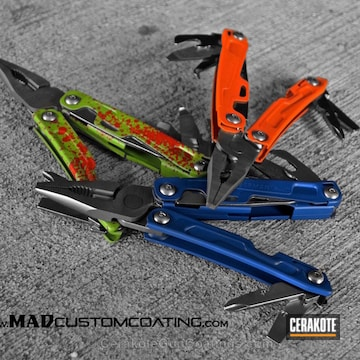 Cerakoted H-243 Safety Orange With H-171 Nra Blue And H-168 Zombie Green