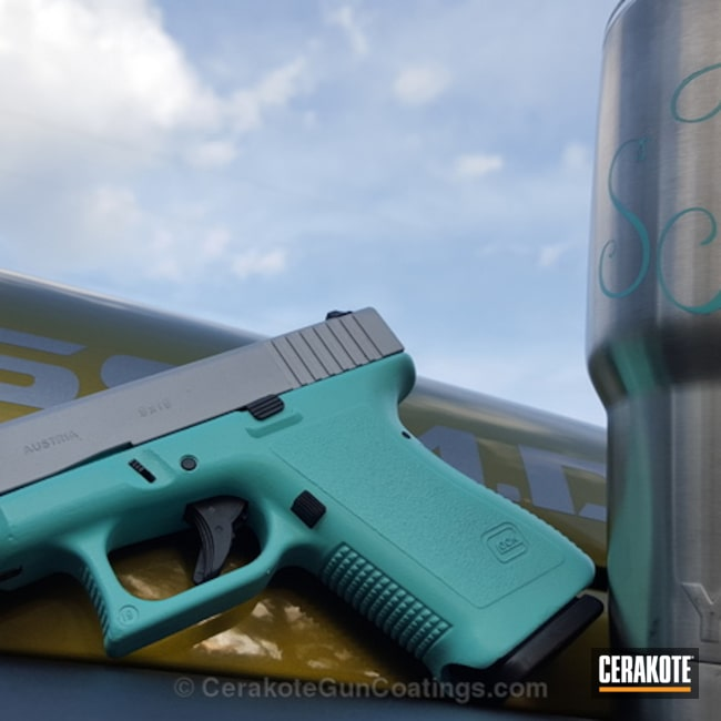 Cerakoted: Robin's Egg Blue H-175,Crushed Silver H-255,Glock,Ladies