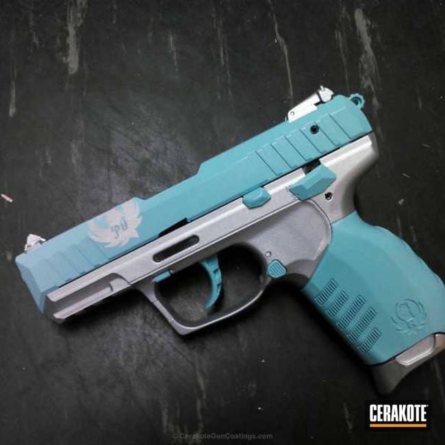 H-151 Satin Aluminum with H-175 Robin's Egg Blue