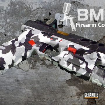 Cerakoted H-136 Snow White With H-234 Sniper Grey With H-146 Graphite Black And H-167 Usmc Red