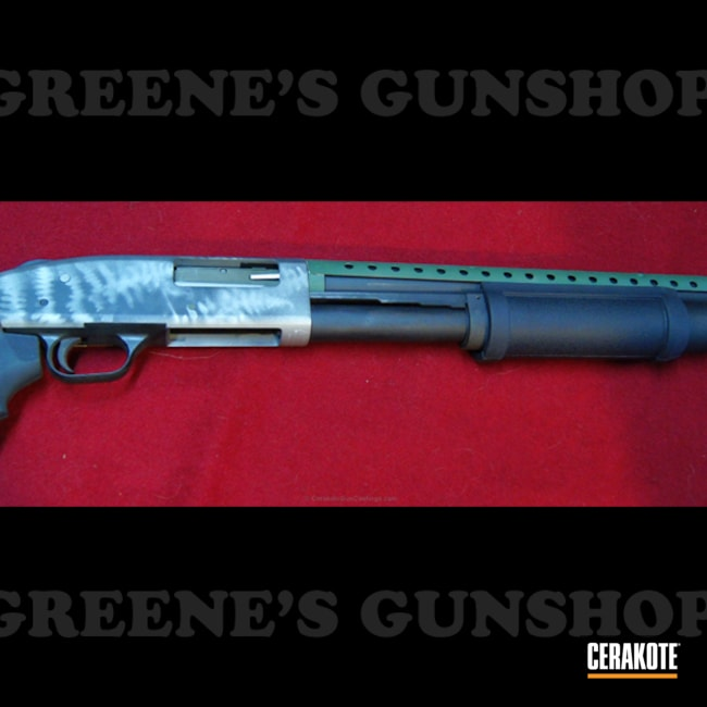 Mobile-friendly version of the 1st project picture. Graphite Black H-146Q, Shotgun, Mossberg 500, Crushed Silver H-255Q, Highland Green H-200