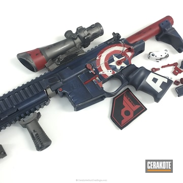 Cerakoted H-167 Usmc Red With H-171 Nra Blue With H-170 Titanium And H-136 Snow White