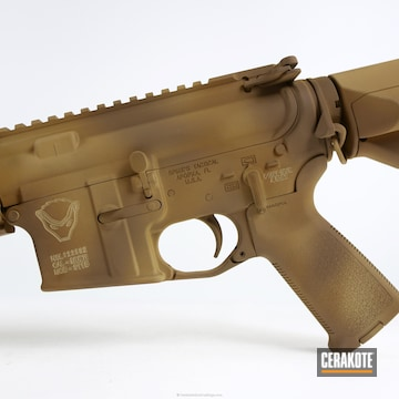 Cerakoted H-7504m Matte Brown With H-33446 Federal Standard Sabre Sand And H-235 Coyote Tan