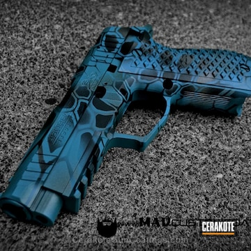 Cerakoted H-175 Robin's Egg Blue With H-146 Graphite Black And H-227 Tactical Grey