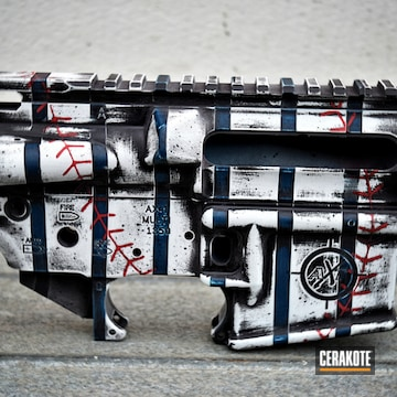 Cerakoted H-216 Smith & Wesson Red With H-146 Graphite Black, H-140 Bright White, H-169 Sky Blue And H-210 Sig Dark Grey