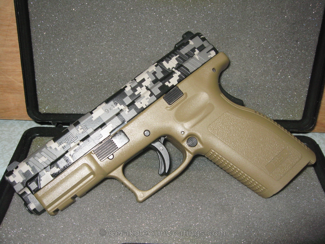 Cerakoted H-265 Flat Dark Earth With C-242 Hidden White And H-190 Armor Black