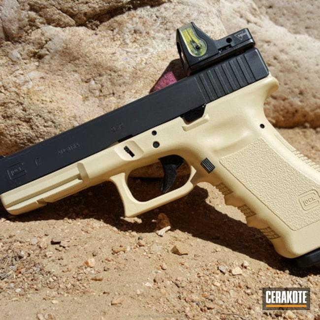 Cerakoted: Two Tone,Glock,Trijicon,Glock 17,RMR Optic,Handguns,Light Sand H-142