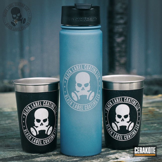 Cerakoted: Water Bottle,Snow White H-136,Graphite Black H-146,Aluminum Water Bottle,Stainless H-152,More Than Guns,Cups,Stainless Steel Cup,Hydroflask,Black Label Coating LLC,Blue Titanium H-185