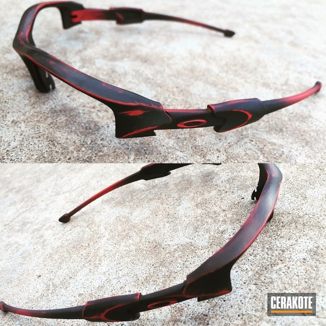 Mobile-friendly version of the 1st project picture. Graphite Black H-146Q, Oakley, Distressed, Sunglasses, USMC Red H-167Q